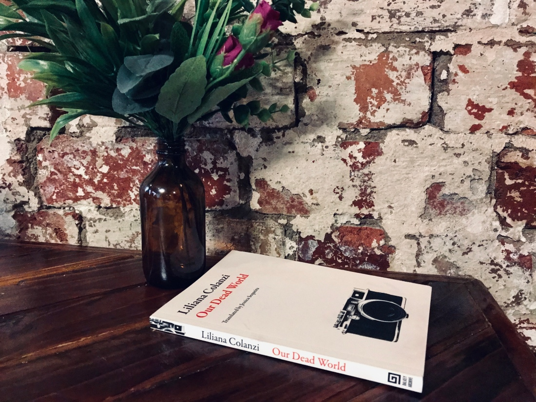 Our Dead World book with picture of camera on front cover, flowers and brick wall in background