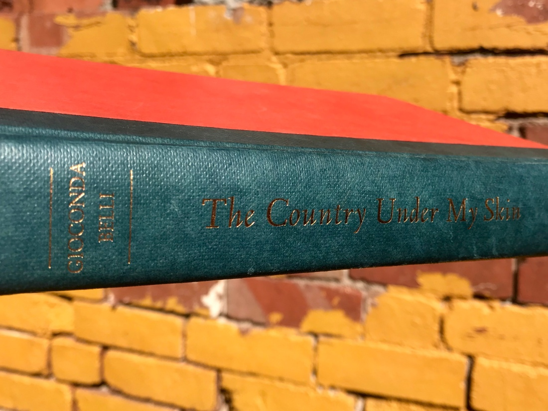 Blue spine of book with title and author, blank red cover, yellow brick wall in background