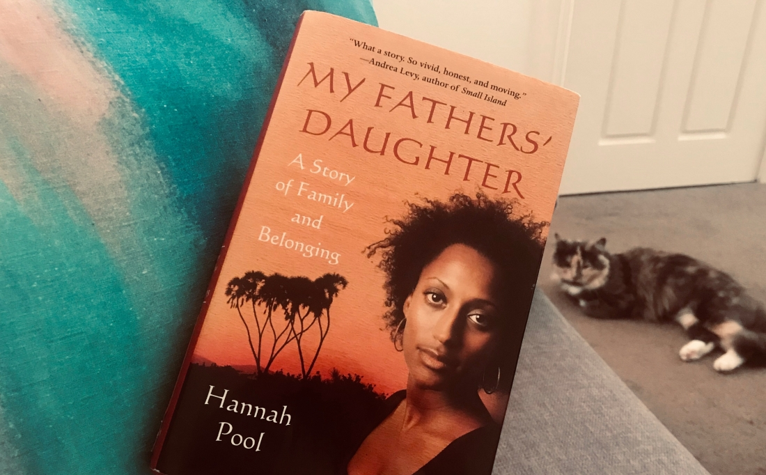 My father's daughter book with author on front and my cat in the background
