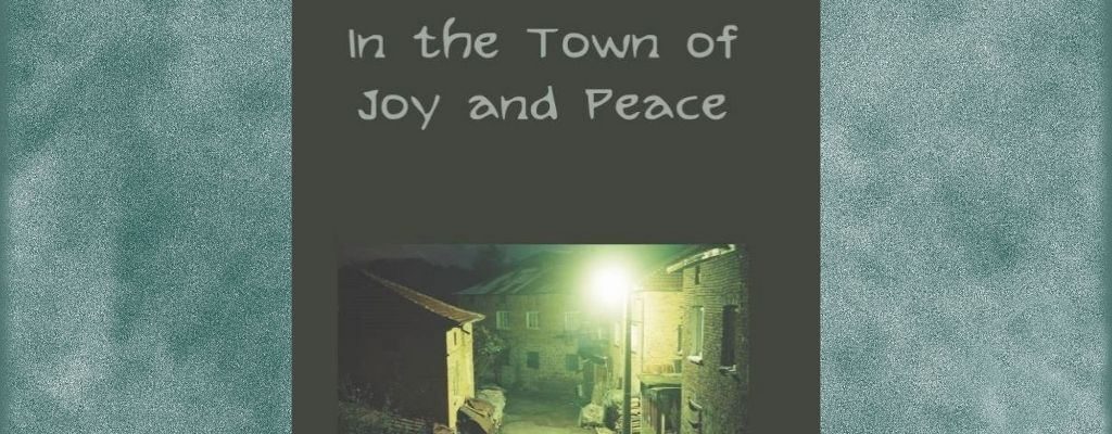 book cover with eerie town lit by lampost