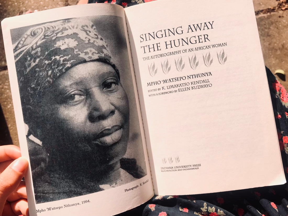 Singing away the hunger - inside cover with photo of Mpho